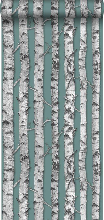 HD vliesbehang berken boomstammen oud vergrijsd groen en licht warm grijs - 138891 ESTAhome.nl