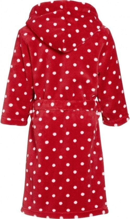Rode badjasochtendjas met witte stippen print voor kinderen. 98104 (4 5 jr)