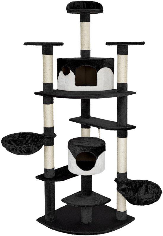 TecTake -  Katten krabpaal Duki zwart / wit 204 cm - 402107