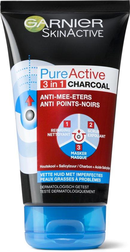 Garnier SkinActive Pure Active Charcoal 3in1 Gezichtsreiniging - 150 ml - Vette tot Probleem Huid