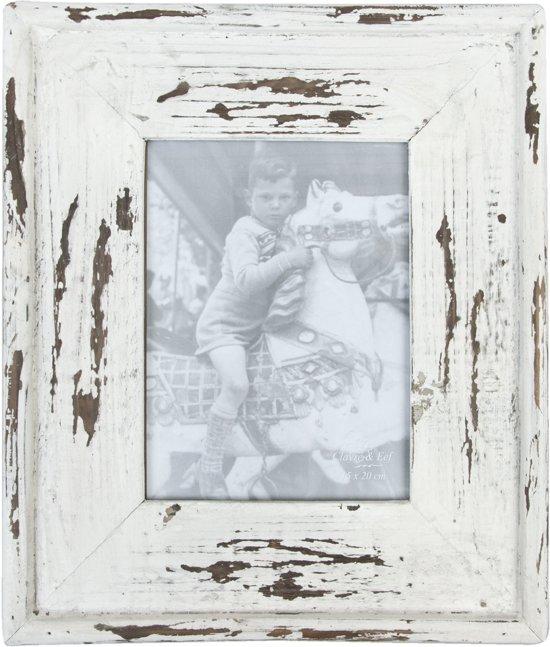 2143 - Fotolijst - 29 x 34 / 15 x 21 cm - hout - wit