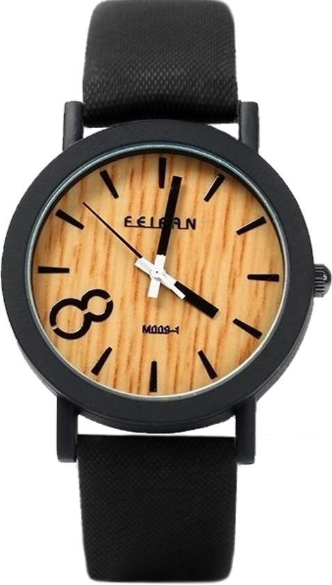 Fashion Favorite - Houtlook Horloge - Kunststof - Black/Zwart - Ø 38 mm