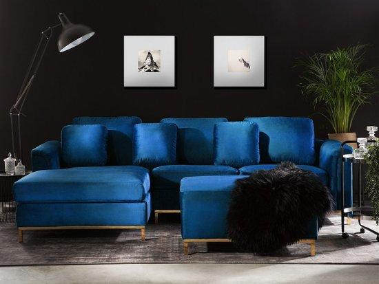 Beliani Oslo Hoekbank Blauw Fluweel