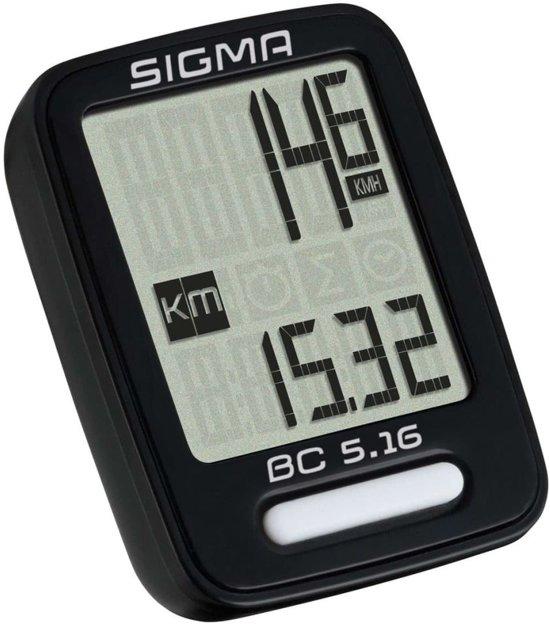 Sigma BC 5.16 Fietscomputer - 5 functies - Bedraad - Zwart