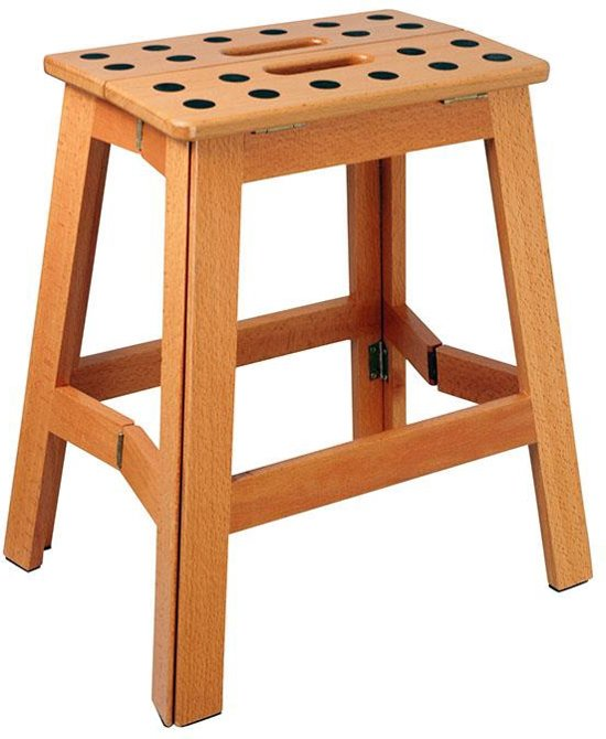 Puhlmann James Foldable Stool Wood XL - Krukje - Inklapbaar - Beukenhout - 41 cm