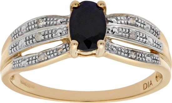 9k Geel Gouden Saffier en Multi Rij Diamant Ring