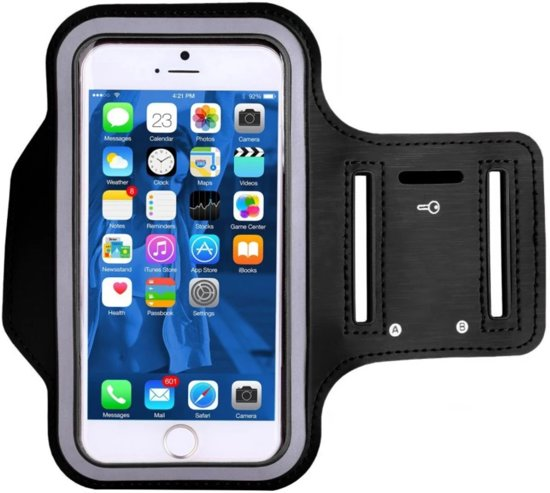Zwart Universele Spatwaterdichte Sportarmband voor Apple iPhone 7 Plus / 7+ - Hardloop 5.5 inch Sport Armband Met Sleutelhouder (Apple iPhone, Samsung, Huawei, LG, HTC, Huawei) - Waterproof / Waterdichte Case / Hoesje
