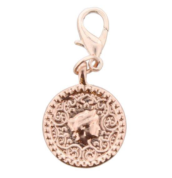 2-zijdige Rosé-Goudkleurige munt/hanger voor bij bijpassende ketting. Doorsnede 2 centimeter.