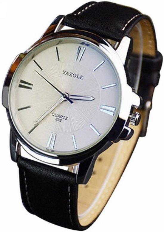 Yazole - heren horloge - business casual - zwart - 40 mm - I-deLuxe verpakking