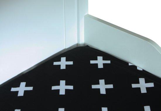 BINK Bedding Hoeslaken 90 x 200 Cross Zwart Wit