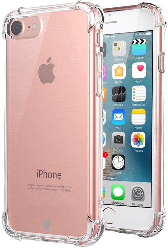 Hoesje voor Apple iPhone 7 - Siliconen Hoesje met Versterkte Rand Shockproof Transparant Doorzichtig, TPU Gel Soft Hoesje