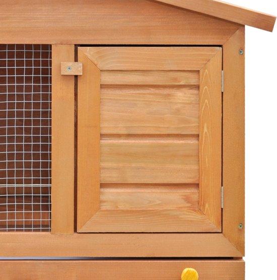 Houten konijnenhok - voor buiten met drie deuren van hout