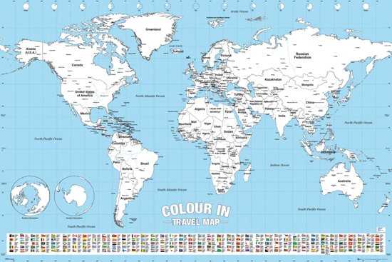 Wereldkaart poster Inkleuren formaat 61x91.5cm