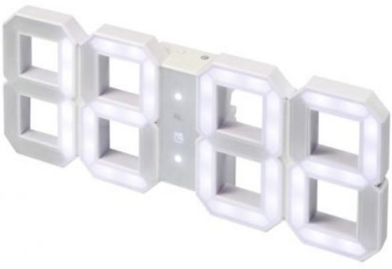iBello Digitale 3D LED Klok Wekker - Wit