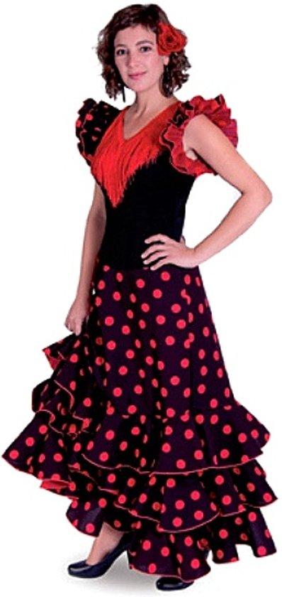 Spaanse jurk - Flamenco jurk Deluxe – Zwart Rood - Maat 44 - Volwassenen - Verkleed jurk