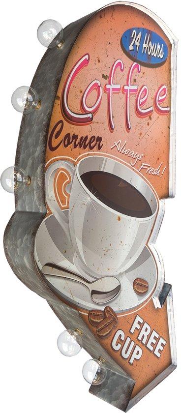 Signs-USA - Light up! Dubbelzijdig Coffee Corner vintage marquee uithangbord met bulb lampen - 33 x 8 x 65 cm