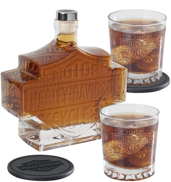 Harley-Davidson Bar & Shield Whiskey Fles Karaf En Glazen Set