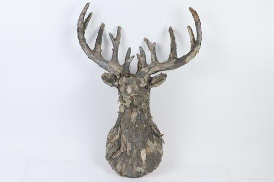Wanddecoratie Natuurlijke Materialen.Dbt Herthoofd Wanddecoratie Hout Bruin Grijs 80cm