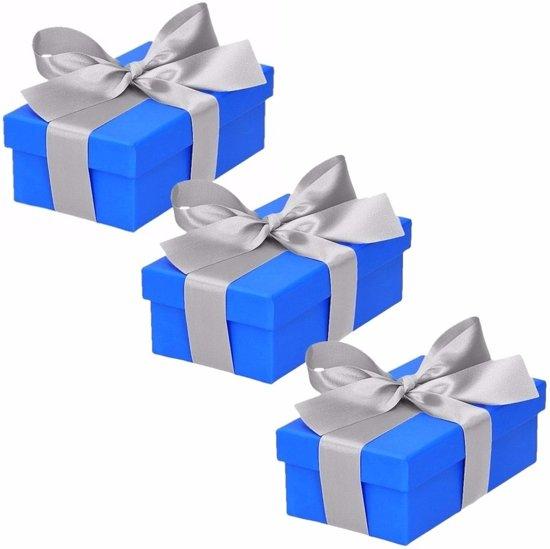 3 x Blauw cadeaudoosje 10 cm met zilveren strik