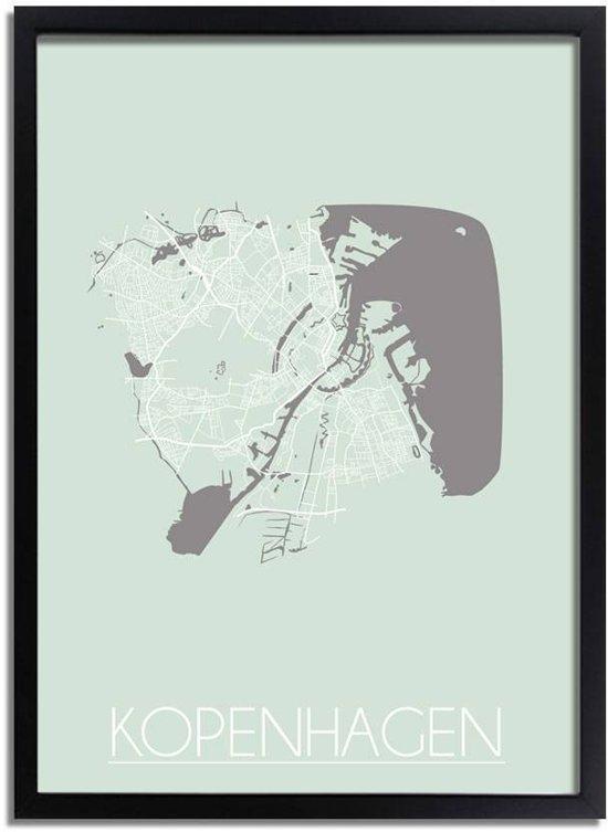 Plattegrond Kopenhagen Stadskaart poster DesignClaud - Pastel Groen - A3 + fotolijst zwart