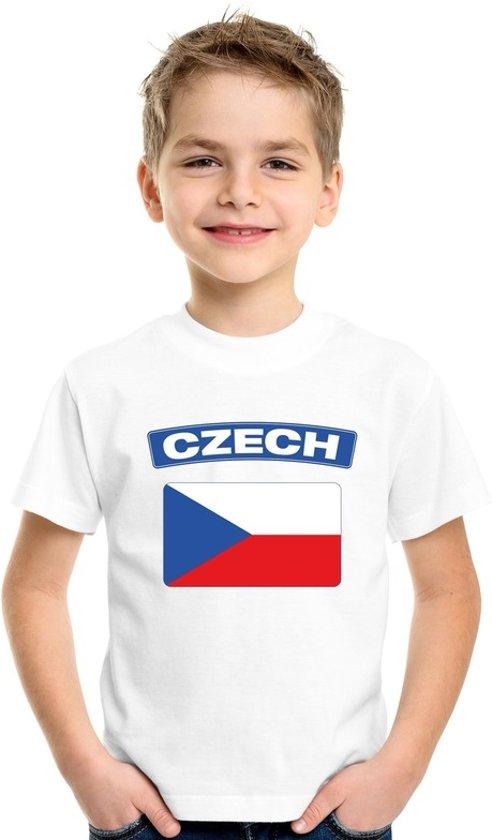 Tsjechie t-shirt met Tsjechische vlag wit kinderen XS (110-116)