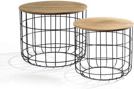 Set Ronde Bijzettafels.ᐅ Ronde Bijzettafel Set Van 2 Metalen Salontafel Basket Koffie