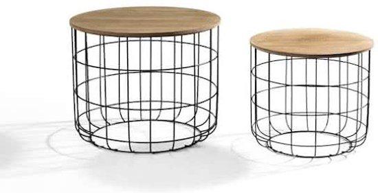 Ronde Bijzettafel Set.ᐅ Ronde Bijzettafel Set Van 2 Metalen Salontafel Basket Koffie
