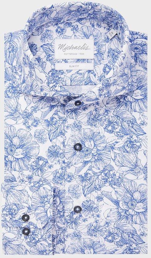 Michaelis Slim Fit overhemd - blauw met wit bloemen dessin - boordmaat 39