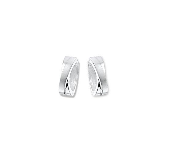 The Jewelry Collection klap-oorringen Poli/mat - Zilver Gerhodineerd