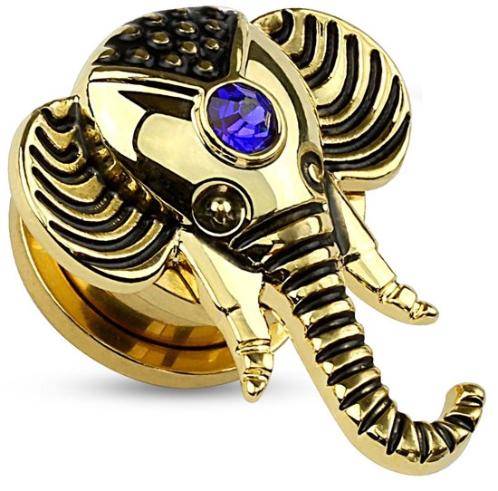 Jewelled Saffierblauw Olifant Screw Fit plug gold plated - 5 mm