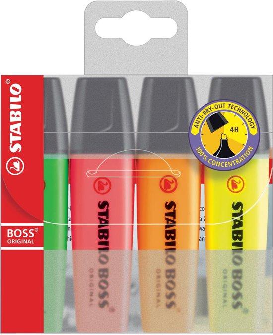 11x Markeerstift Stabilo Boss Original etui van 4 stuks: geel, groen, oranje en roze