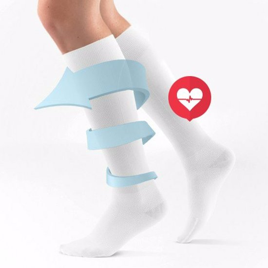 Duopack Compressiekousen / Steunkousen - Elastische Hardloop / Sport / Vliegtuig Compressie Sokken - Running Travel Sock - Reissokken / Reis Kousen - Heren/Dames - Wit