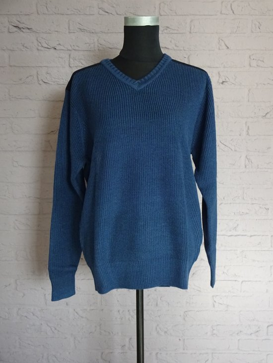 HKM Pullover [ pully ] met V hals, Blauw maat M.  Nr. 961.