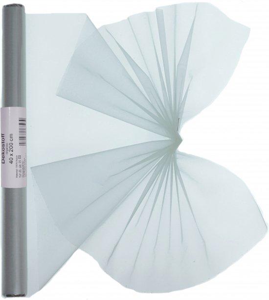Zilveren organza stof op rol 40 x 200 cm