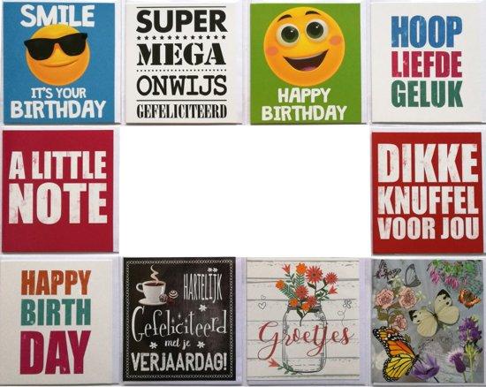 Verjaardagskaarten en  Assortie Wenskaarten - Set van 10 - L-003