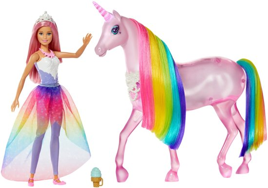 Afbeelding van Barbie Dreamtopia Magische Lichtjes Eenhoorn met Prinsessenpop - Barbiepop speelgoed