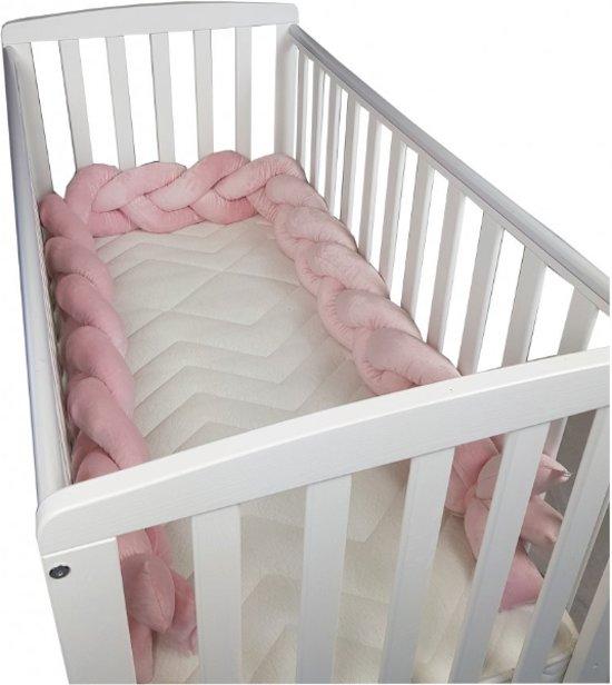 Babybed Aan Bed.Babybed Bumper 280 Cm Roze Stootrand Ledikant Bedomrander Gevlochten Minky Bed Bescherming