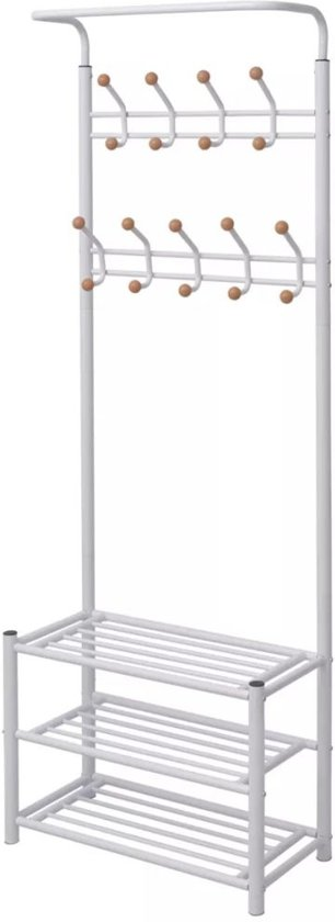 Kledingrek met schoenenopberger 68x32x182,5 cm wit