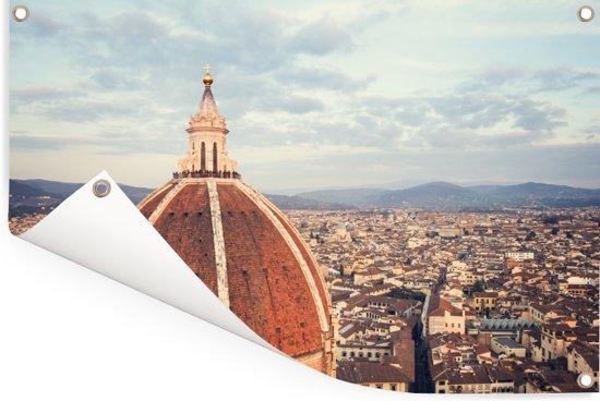 Luchtfoto van Florence met de koepel van de Dom van Florence Tuinposter 90x60 cm - Tuindoek / Buitencanvas / Schilderijen voor buiten (tuin decoratie)