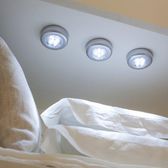 3x led lamp druklampenset push light lamp op batterij verlichting zwart