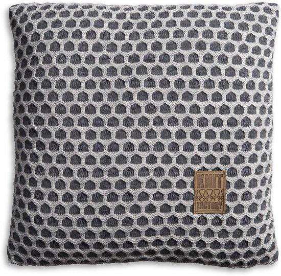 Knit Factory Mila - Kussen - 50x50 cm - Antraciet/L. Grijs