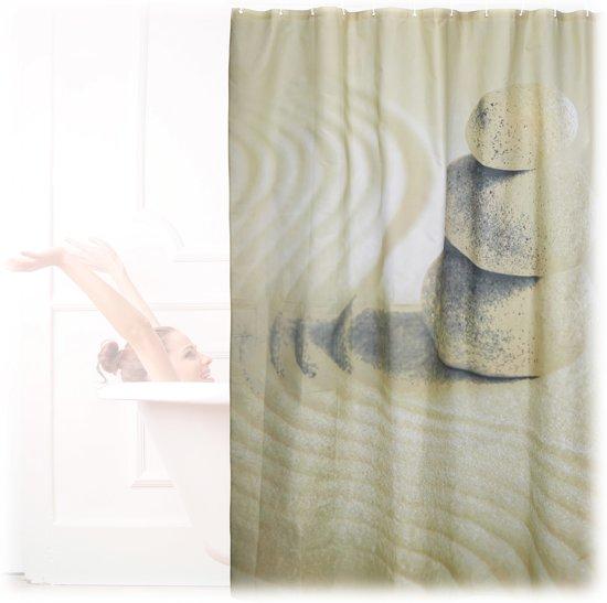bol.com | relaxdays douchegordijn stenen zand 200 x 180 cm - anti ...
