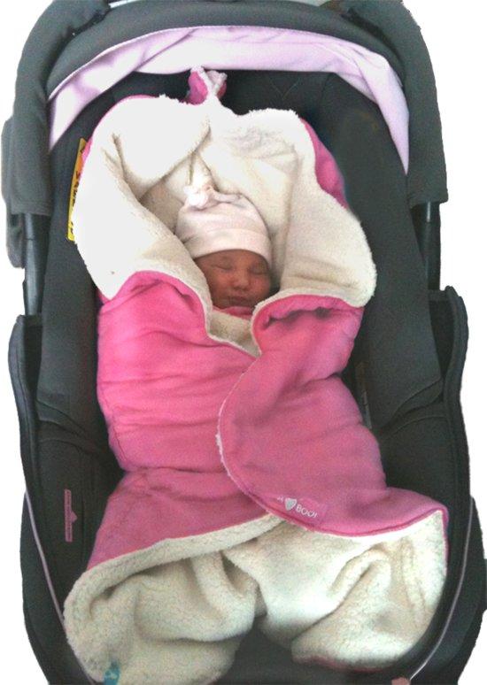 Wallaboo Babydeken Nore - wikkeldeken voor in autostoel en kinderwagen - zacht suéde en warm bont - 85 * 85 cm - Roze