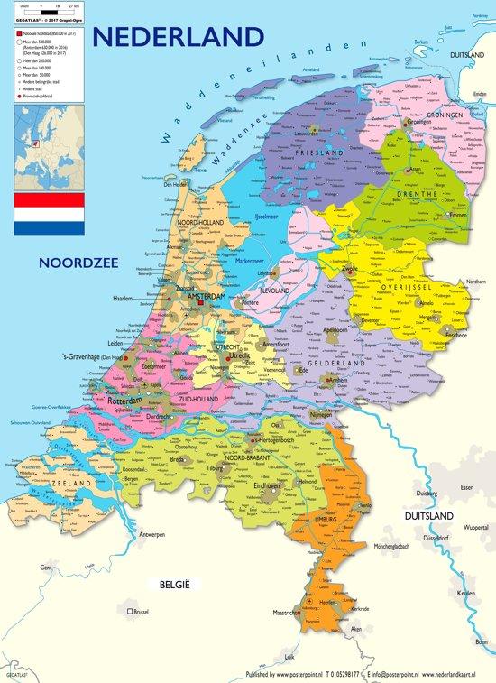 Poster  Nederland kaart Editie 2017 – groot - 70x100cm -luxe papier met UV-lak