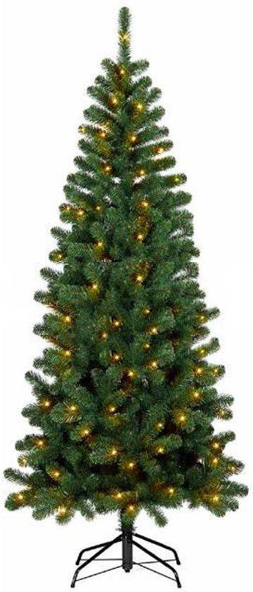 smalle kunstkerstboom brisbane deluxe met warme led verlichting snel op te bouwen hoogte