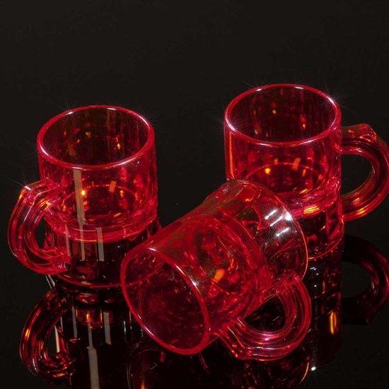 Rode kunststof shotglaasjes transparant - 2,5 cl - 25 stuks