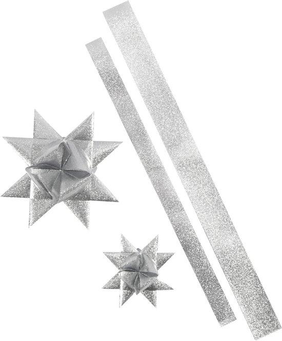 Sterstroken, b: 25+40 mm, d: 11,5+18,5 cm, zilver glitter, outdoor, 16stroken, l: 86+100 cm