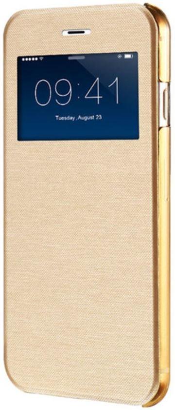 iPhone 7 flip cover met venster - goud