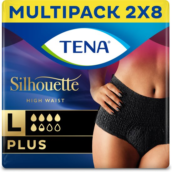 TENA Silhouette Plus - High Waist - Noir - Large - 16 stuks - voor urineverlies (incontinentie)
