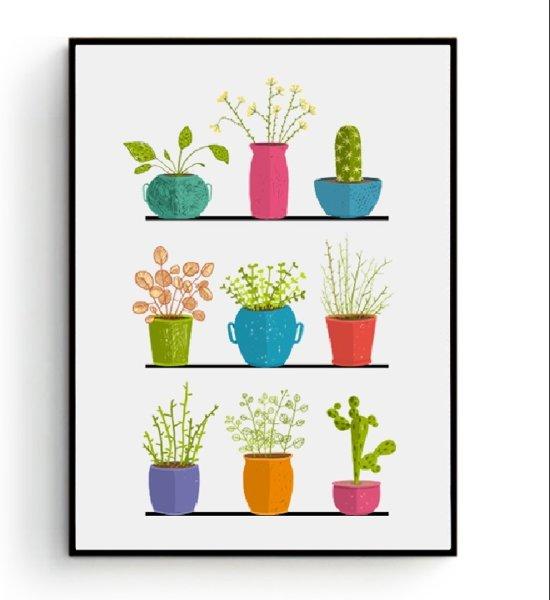 Keuken Muur Decoratie.Bol Com Postercity Design Canvas Poster 9 Plantjes Keuken